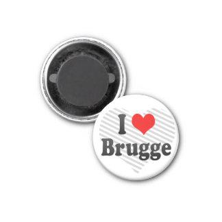 I Love Brugge, Belgium 1 Inch Round Magnet