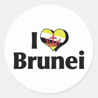 I Love Brunei Flag Classic Round Sticker