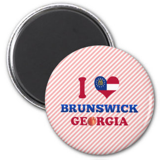 I Love Brunswick, Georgia 2 Inch Round Magnet