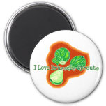 I Love Brussels Sprouts 2 Inch Round Magnet