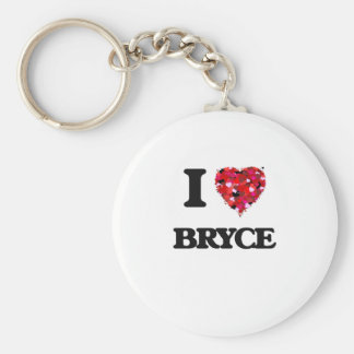 I Love Bryce Basic Round Button Keychain