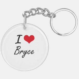 I Love Bryce Double-Sided Round Acrylic Keychain