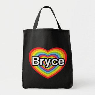 I love Bryce: rainbow heart Canvas Bag