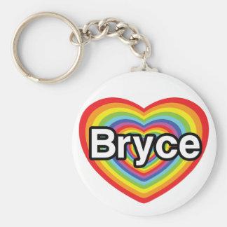 I love Bryce: rainbow heart Basic Round Button Keychain