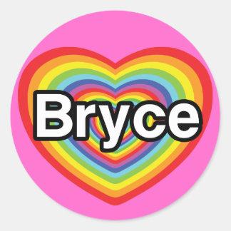 I love Bryce: rainbow heart Classic Round Sticker