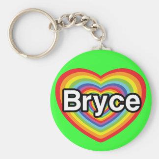 I love Bryce: rainbow heart Keychains