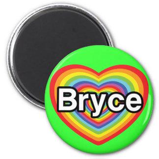 I love Bryce: rainbow heart Fridge Magnets