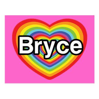 I love Bryce: rainbow heart Postcard