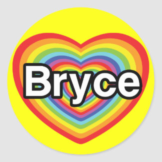 I love Bryce: rainbow heart Round Sticker