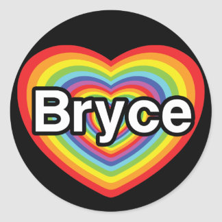 I love Bryce: rainbow heart Stickers