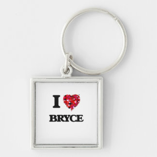 I Love Bryce Silver-Colored Square Keychain