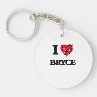 I Love Bryce Single-Sided Round Acrylic Keychain