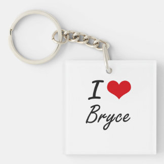 I Love Bryce Single-Sided Square Acrylic Keychain