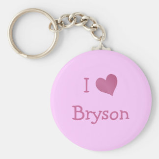 I Love Bryson Basic Round Button Keychain