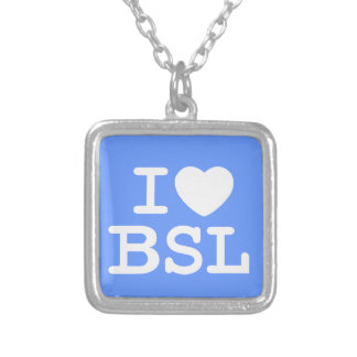 I Love BSL (Color) Silver Plated Necklace