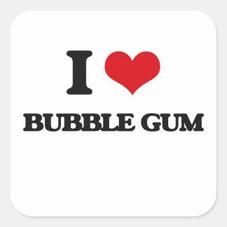 I Love Bubble Gum Square Sticker