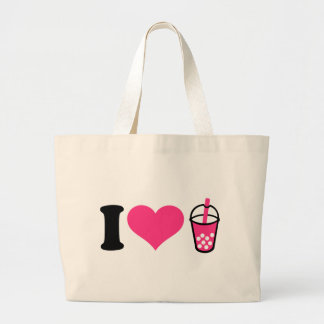 I love Bubble Tea Large Tote Bag
