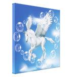 I Love Bubbles Unicorn Pegasus Stretched Canvas Print