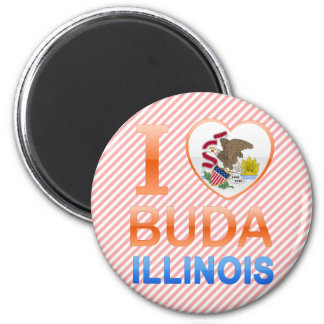 I Love Buda, IL 2 Inch Round Magnet