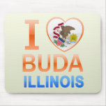 I Love Buda, IL Mouse Pads