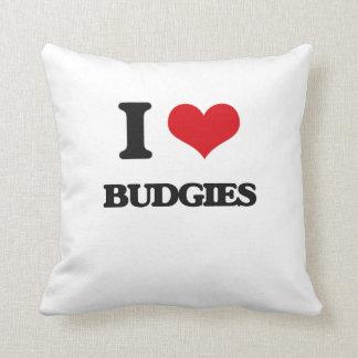 I love Budgies Throw Pillows
