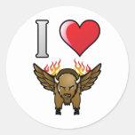 I Love Buffalo Wings Round Sticker