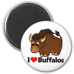 I Love Buffalos 2 Inch Round Magnet