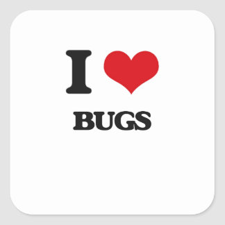 I Love Bugs Square Stickers