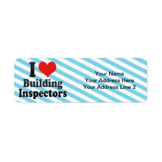 I Love Building Inspectors Return Address Label
