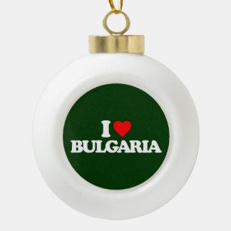 I LOVE BULGARIA CERAMIC BALL CHRISTMAS ORNAMENT