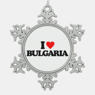 I LOVE BULGARIA SNOWFLAKE PEWTER CHRISTMAS ORNAMENT