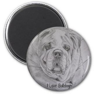 I Love Bulldogs 2 Inch Round Magnet