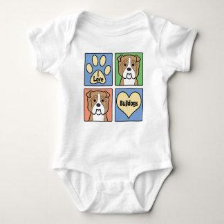 I Love Bulldogs Baby Bodysuit