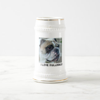 I Love Bulldogs! Beer Stein Mug