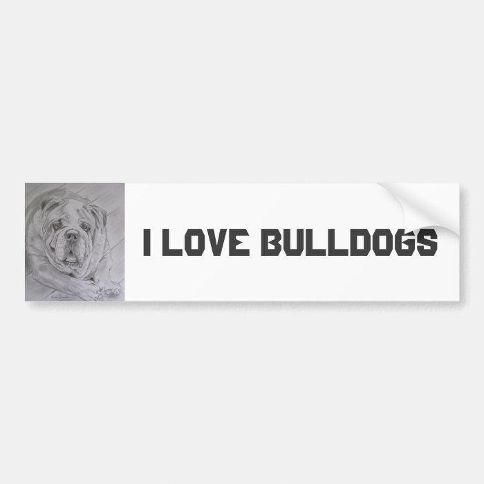 I Love Bulldogs Bumper Sticker