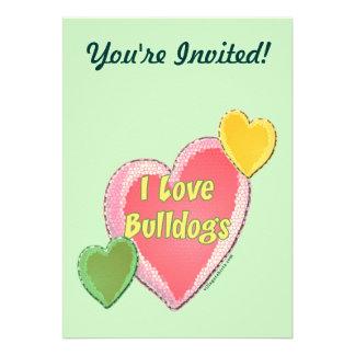 I Love Bulldogs Dog Heart Personalized Announcements