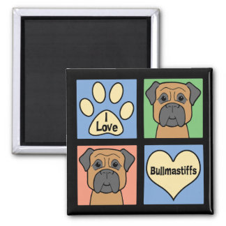 I Love Bullmastiffs 2 Inch Square Magnet