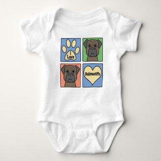 I Love Bullmastiffs Baby Bodysuit
