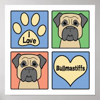 I Love Bullmastiffs Print