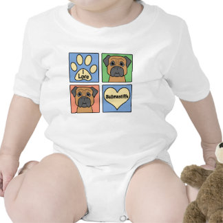 I Love Bullmastiffs Baby Bodysuits