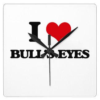 I love Bull'S-Eyes Square Wallclocks