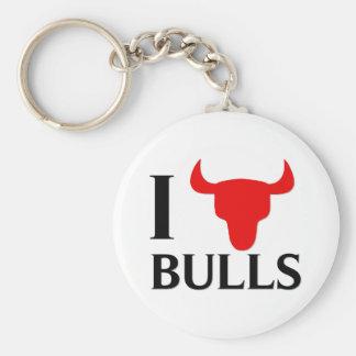 I Love Bulls Keychain