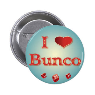 I Love Bunco in Red with red dice Button