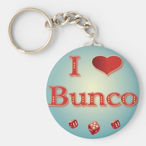 I Love Bunco in Red with red dice Basic Round Button Keychain