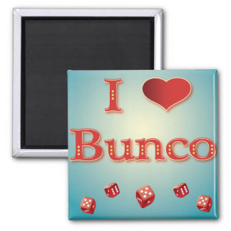 I Love Bunco in Red with red dice 2 Inch Square Magnet