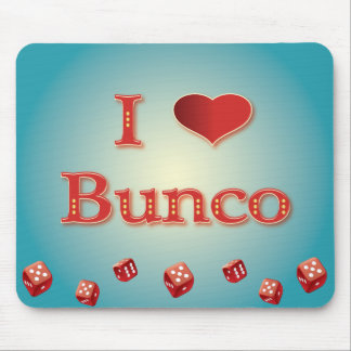 I Love Bunco in Red with red dice Mouse Pad