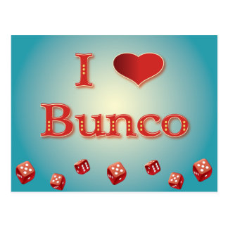 I Love Bunco in Red with red dice Postcard