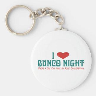 i love bunco night basic round button keychain