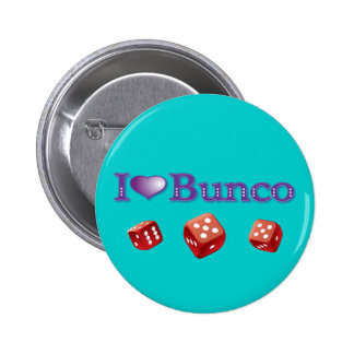 I Love Bunco with Red Dice 2 Inch Round Button