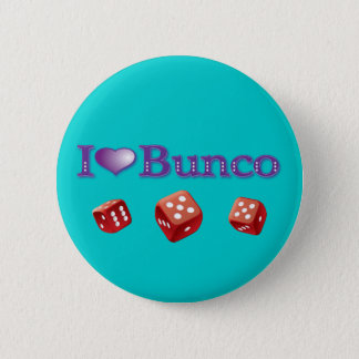 I Love Bunco with Red Dice Button